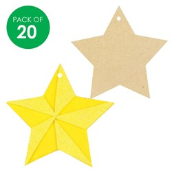 Wooden Star Shapes - Pack of 20