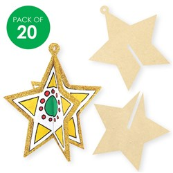 3D Wooden Stars - Pack of 20