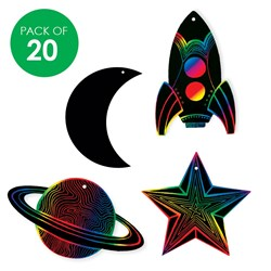 Scratch Board Space Shapes - Pack of 20
