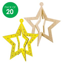 3D Wooden Stars with Cutouts - Pack of 20