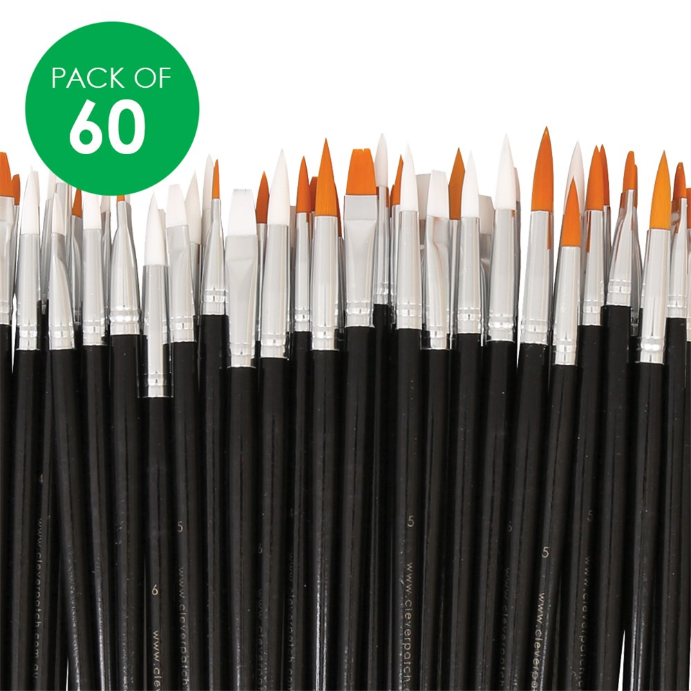 Long Handled Artist Brush Assortment - Pack Of 60