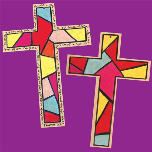 Stained Glass Wooden Cross
