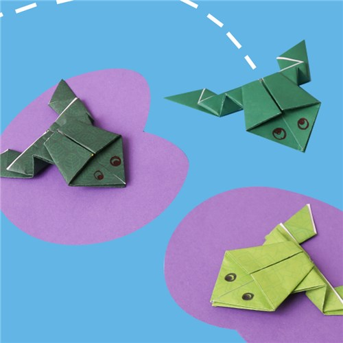 Make an origami frog that really jumps | Origami frog, Origami ... | 500x500