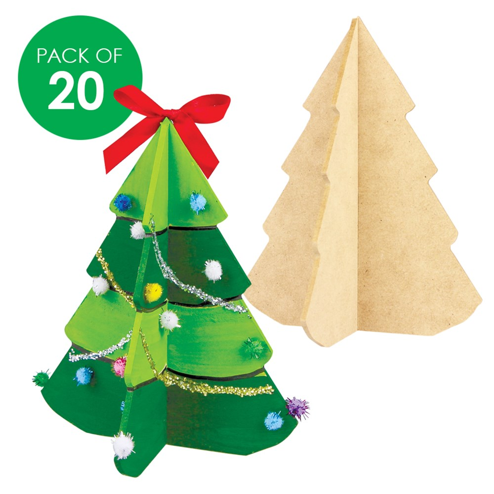 Buy Christmas Tree India: 3D Wooden Christmas Trees - Pack Of 20