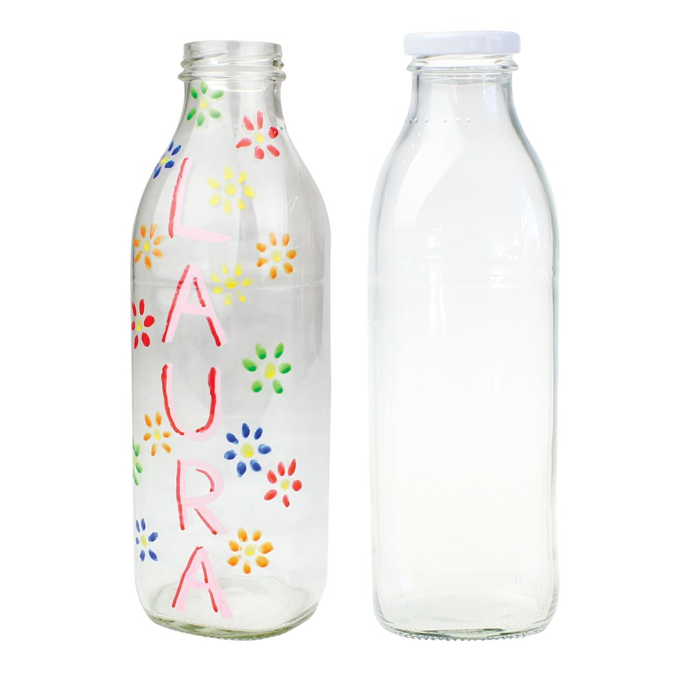 Glass Milk Bottle 750ml Sand Art Cleverpatch Art
