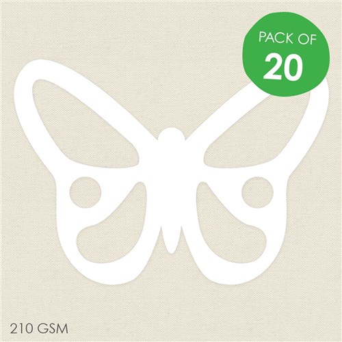Cardboard Butterfly Cutouts - White - Pack of 20