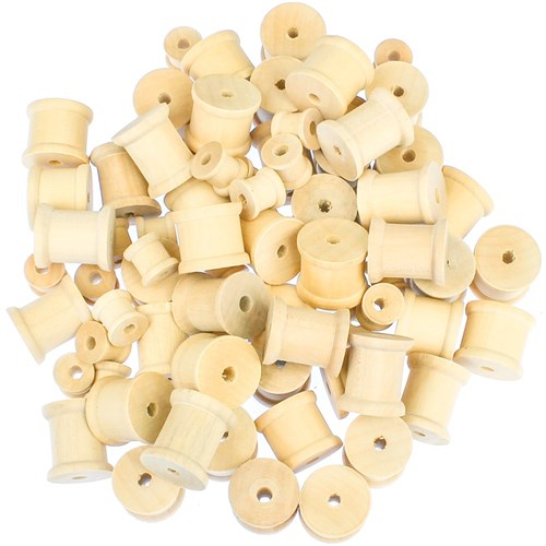 Wooden Spools - Natural - Pack of 72