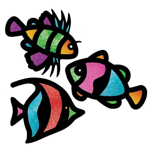 Cardboard Tropical Fish Stained Glass Frames Pack Of 24