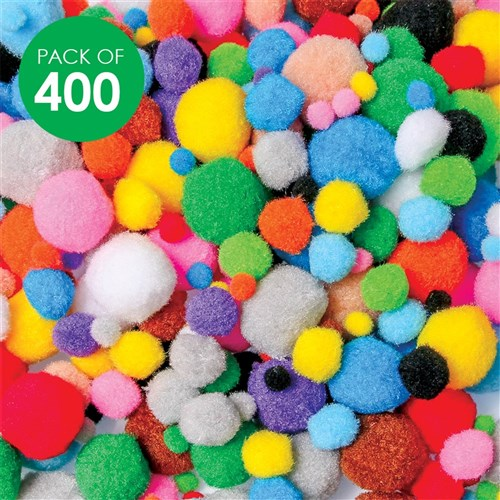 Pom Poms - Assorted - Pack of 400