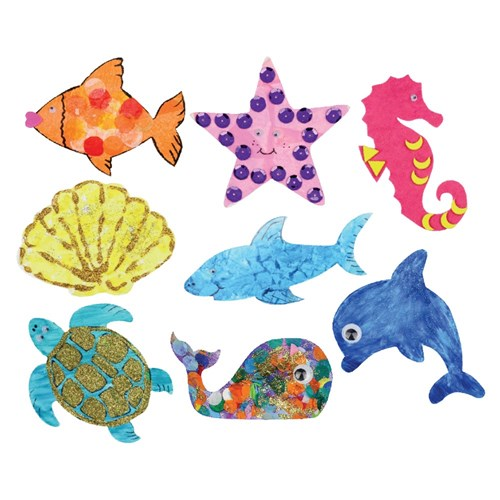 Cardboard Sea Animals - White - Pack of 24