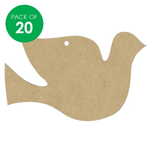 Wooden Dove Shape Pack Of 20 Christmas Ornaments