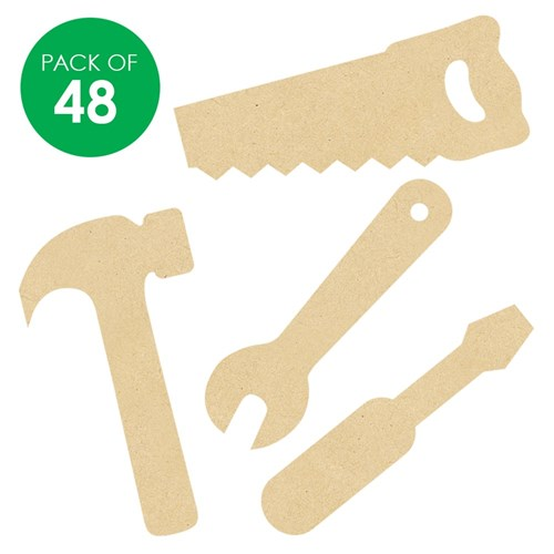 Wooden Tool Shapes - Pack of 48