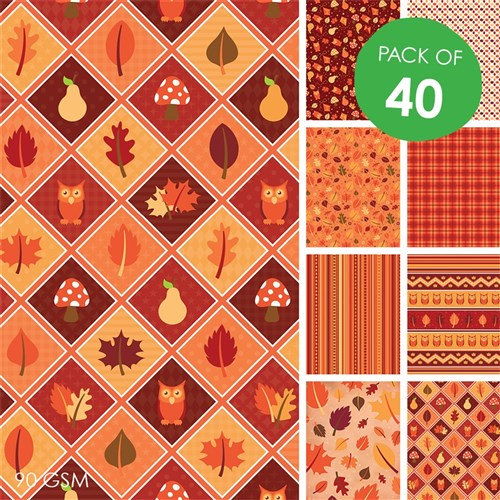 Autumn Craft Paper - Pack of 40