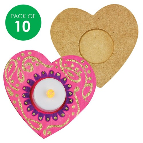 Wooden Candle Holders Heart Pack Of 10 Wooden Shapes