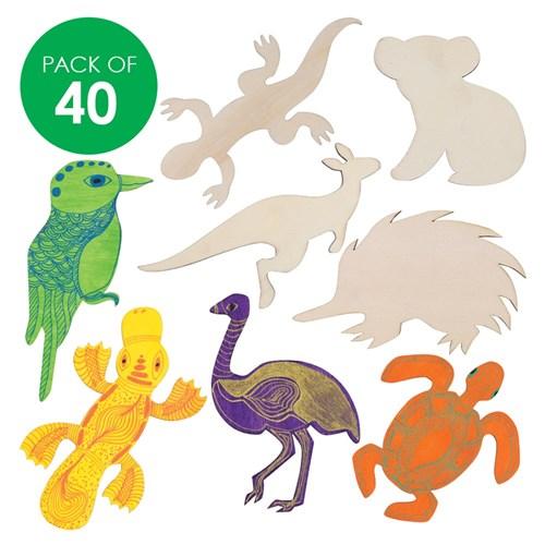 wooden australian animal shapes pack of 40 australia day