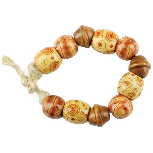 Printed Wooden Beads - 200g Pack