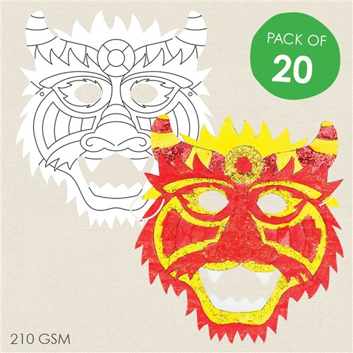 Cardboard Dragon Masks - White - Pack of 20