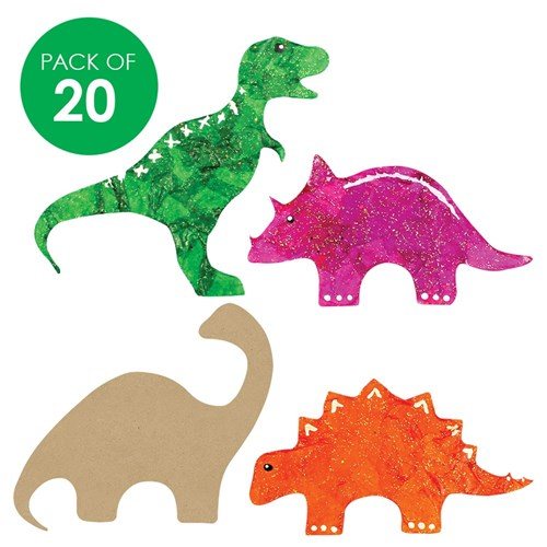 Wooden Dinosaur Shapes Pack Of 20 Wood Cleverpatch
