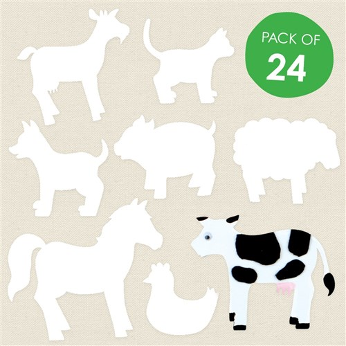 Cardboard Farm Animals - White