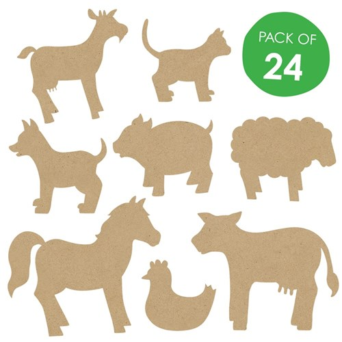 Wooden Farm Animal Shapes - Pack of 24