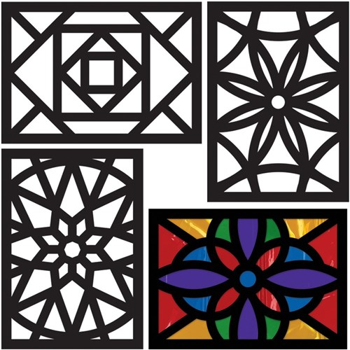 Cardboard Rectangle Stained Glass Frames Pack Of 20 Paper