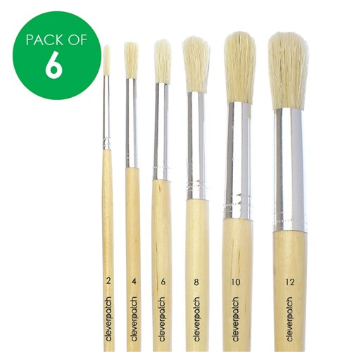 Round Paint Brushes Set - Hog Hair