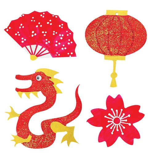 Wooden Asian Shapes - Pack of 4