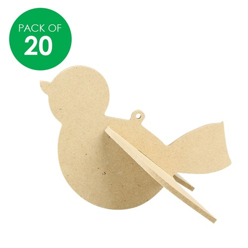 3D Wooden Robins - Pack of 20