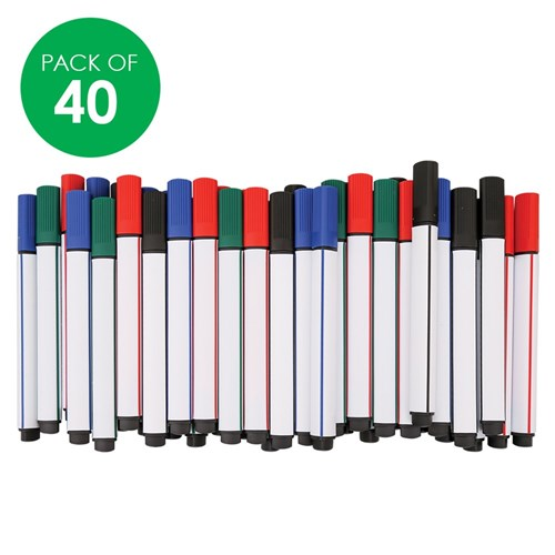 CleverPatch Triangular Whiteboard Markers - Coloured - Pack of 40