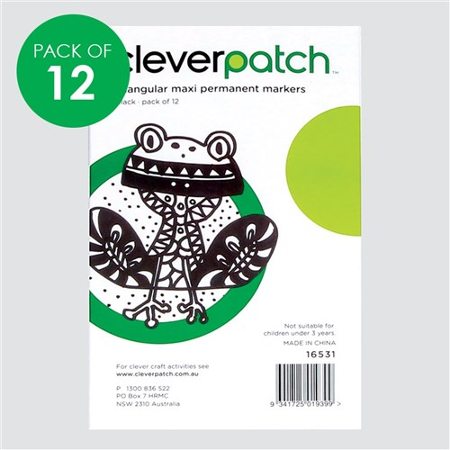 CleverPatch Triangular Maxi Permanent Markers - Black - Pack of 12
