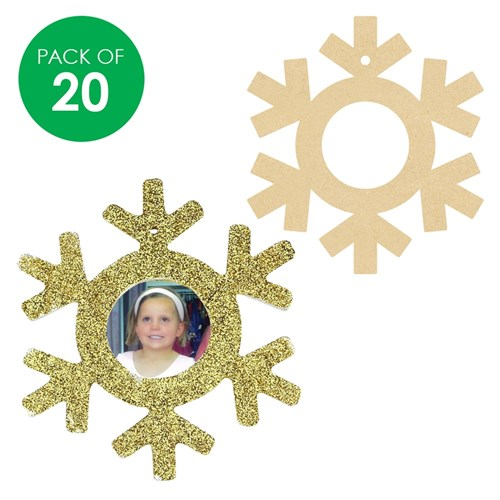 Wooden Snowflake Frames - Pack of 20