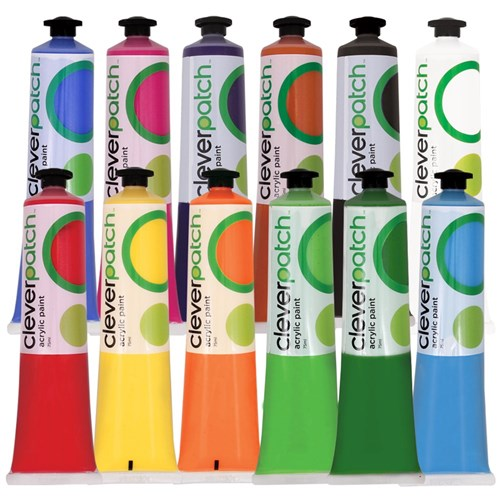 CleverPatch Acrylic Paint Tubes - 75ml - Set of 12 colours