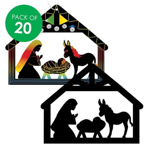 Scratch Board Cutout Nativity Scenes