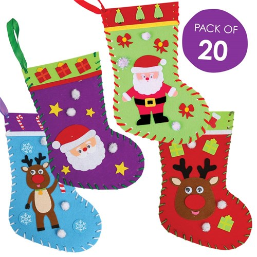 Felt Christmas Stockings Sewing CleverKit Multi Pack - Pack of 20