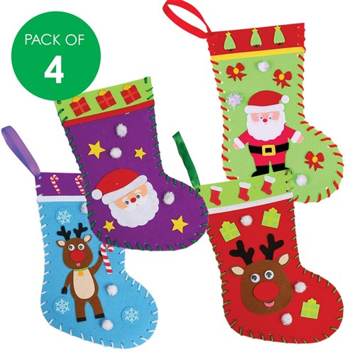 Felt Christmas Stockings Sewing CleverKit Multi Pack - Pack of 4