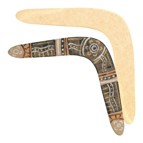 "Indigenous Wooden Boomerangs - 16"" (Approximately 40.64 x 19cm)"