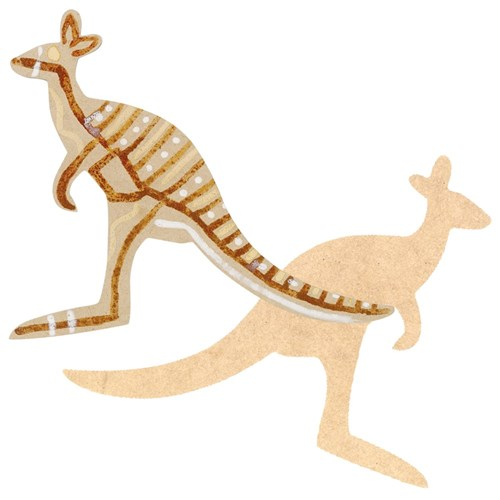 Indigenous Wooden Kangaroo Shapes - Pack of 10