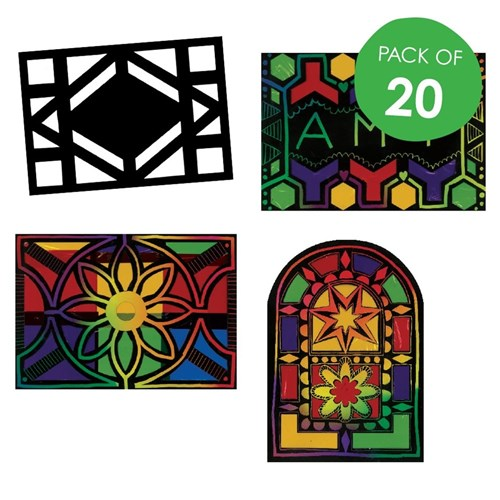 Scratch Board Stained Glass Shapes