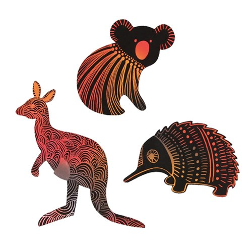 Scratch Board Australian Animals Shapes