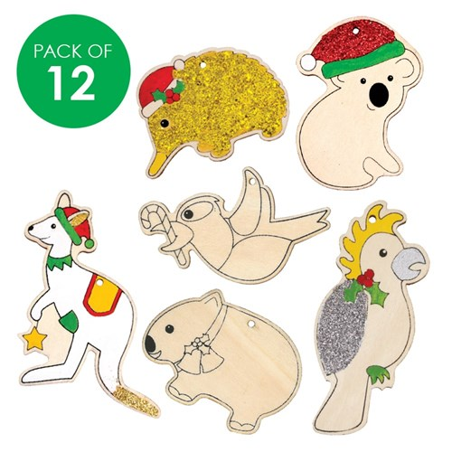 Australian Animal Printed Wooden Ornaments - Pack of 12 ...