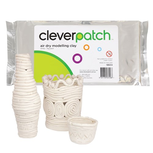 CleverPatch Air Dry Modelling Clay - White - 1kg Pack
