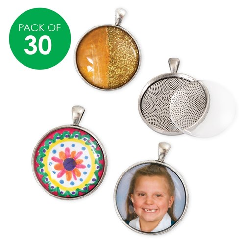Pendant Settings - Silver - Pack of 30