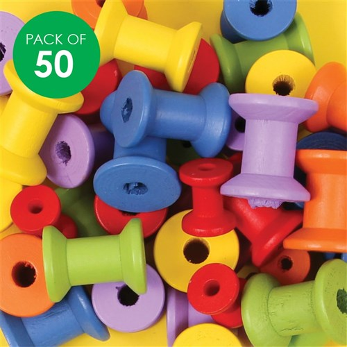 Wooden Spools - Coloured - Pack of 50