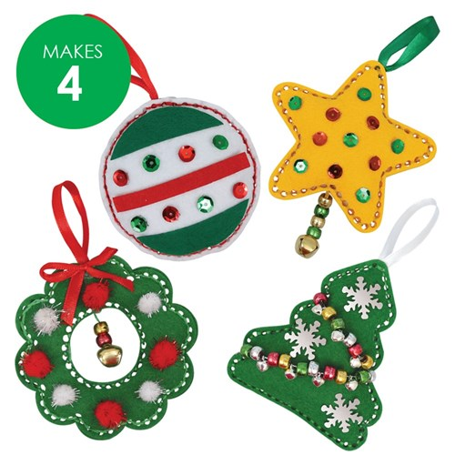 Felt Christmas Ornaments Sewing CleverKit Multi Pack - Pack of 4