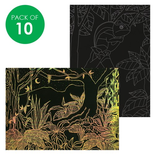 Scratch Board Printed Sheets - Jungle - Pack of 10