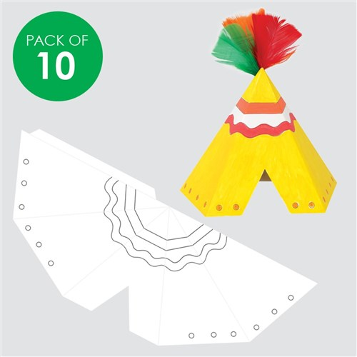 3D Cardboard Teepees - White - Pack of 10