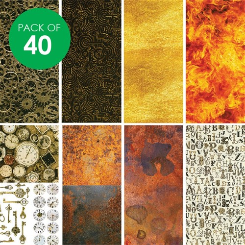 Pattern Paper - Steampunk - Pack of 40