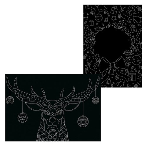 Scratch Board Printed Sheets - Christmas Designs