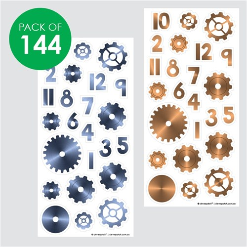 Clock Stickers - Cogs & Numbers - Pack of 144