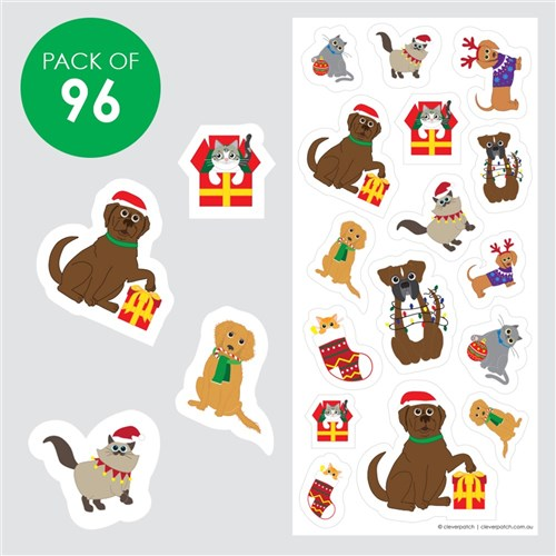 Christmas Cats & Dogs Stickers - Pack of 96